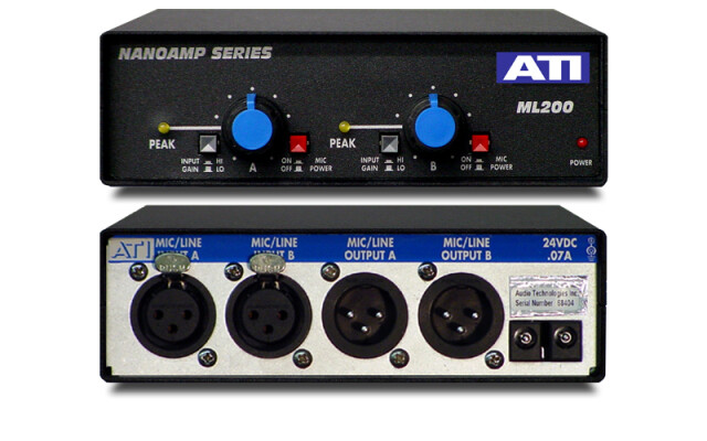 ML200 - 2 Channel Microphone to Line and Line Amplifier AXL5-L-12822-bv