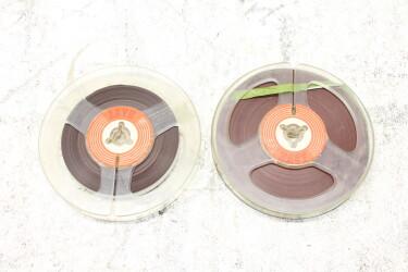 """Magnetophonband 1/4"""" reel tape 4"""" USED (2 reels) EV-P-6326 NEW"""