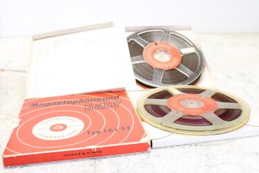 "Magnetophonband 1/4"" reel tape 8½"" in box LGS 52 USED (2 reels) EV-P-6317 NEW"