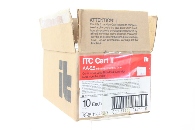 New Old Stock Box Of 5 ITC Cart II NAB AA-5.5 Minutes Continuous Loop Broadcast Cartridges EV-ZV-4-5275 NEW