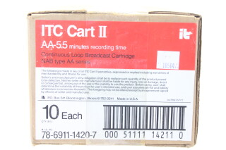 New Old Stock Box Of ITC Cart II NAB AA-5.5 Minutes Continuous Loop Broadcast Cartridge  EV-ZV-4-5274 NEW