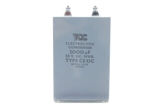 'Block' Electrolytic Condenser 2000µF 25V. DC. WKG. Type CE43C (No. 3) HEN-ZV-7-BOX-1-5317 NEW