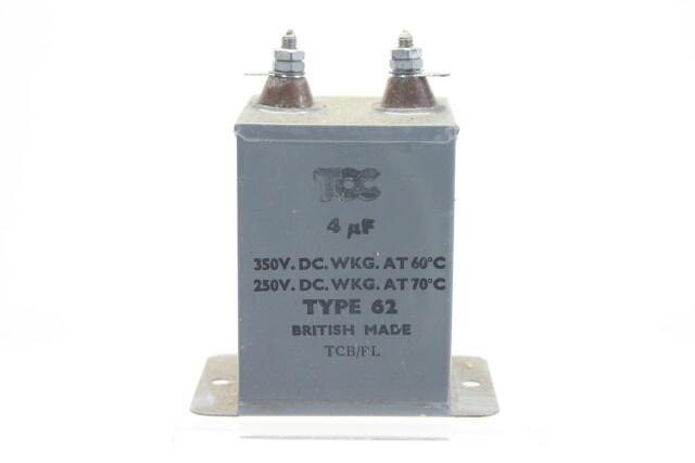 NEW OLD STOCK 4 MFD WKG 350 VDC at 60°C - 250 VDC at 71°C Type 62 HEN-ZV-7-BOX-2-5328