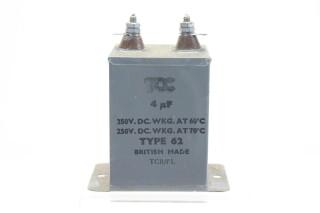 NEW OLD STOCK 4 MFD WKG 350 VDC at 60°C - 250 VDC at 71°C Type 62 HEN-ZV-7-BOX-2-5328 1