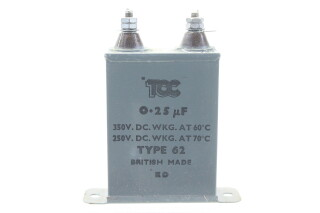 Type 62 0,25 MFD, 350VDC at 60°C - 250VDC at 70°C HEN-ZV-7-BOX-5-5333 1