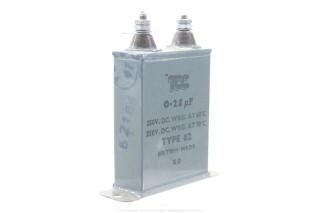 Type 62 0,25 MFD, 350VDC at 60°C - 250VDC at 70°C HEN-ZV-7-BOX-5-5333 2