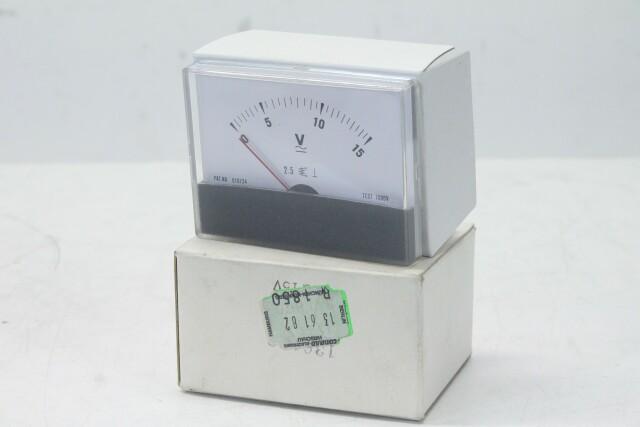 Volt VU Meter 0 to 15 V - New Old Stock KAY B-13-13890-bv