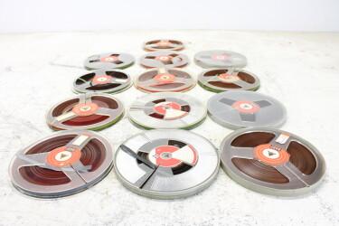 """Magnetophonband 1/4"""" reel tape 7"""" USED (13 reels) EV-P-6324 NEW"""